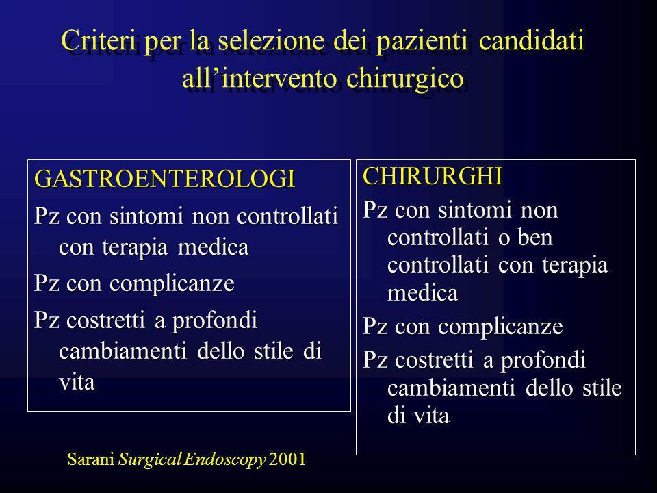 Criteri per la selezione dei pazienti candidati all'intervento chirurgico