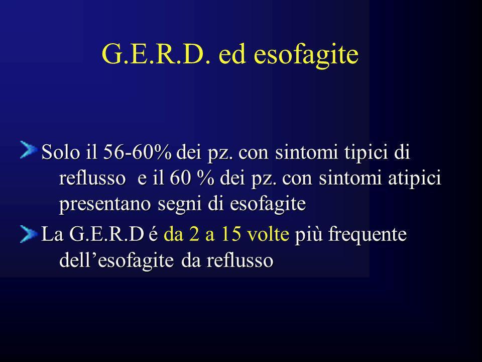 G.E.R.D. ed esofagite Solo il 56-60% dei pz. con sintomi tipici di reflusso e il 60 % dei pz. con sintomi atipici presentano segni di esofagite.