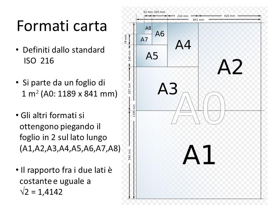 Formati carta Definiti dallo standard ISO 216