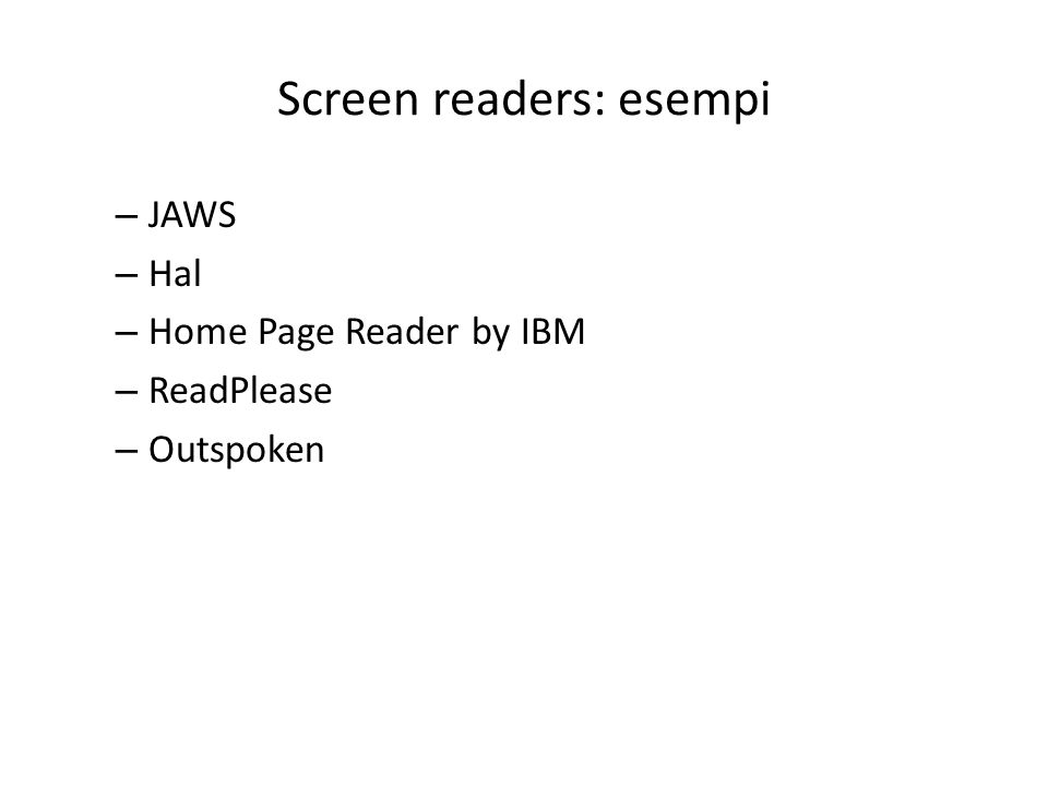 Screen readers: esempi