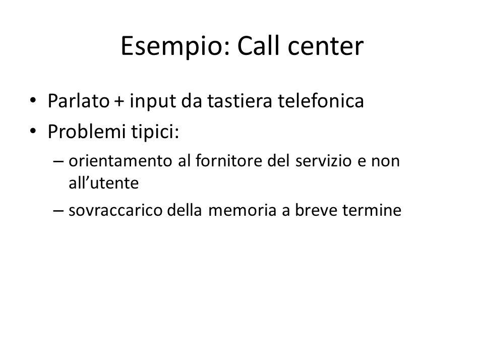 Esempio: Call center Parlato + input da tastiera telefonica