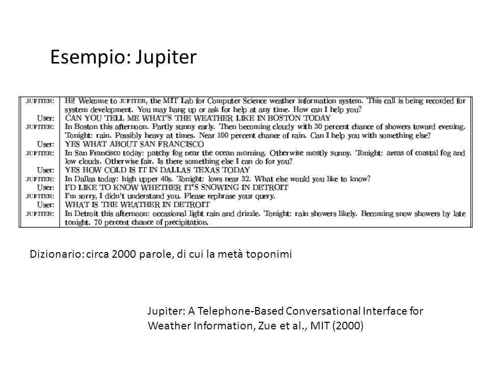 Esempio: Jupiter Dizionario: circa 2000 parole, di cui la metà toponimi.