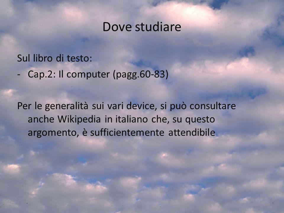 Dove studiare Sul libro di testo: Cap.2: Il computer (pagg.60-83)