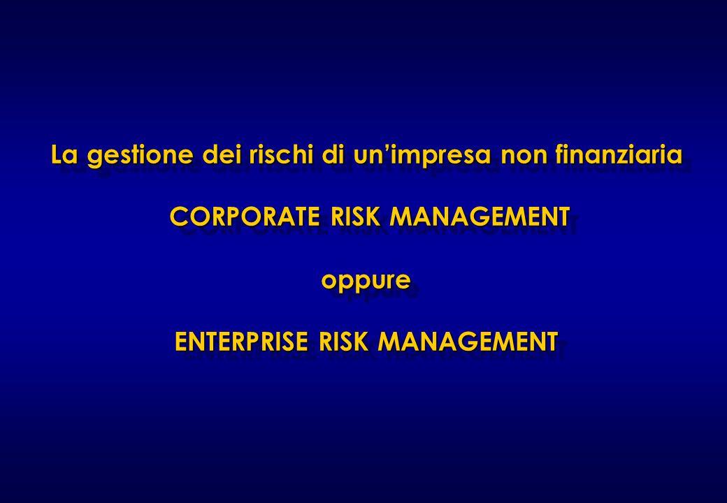 25/03/2017 La gestione dei rischi di un'impresa non finanziaria CORPORATE RISK MANAGEMENT oppure ENTERPRISE RISK MANAGEMENT.