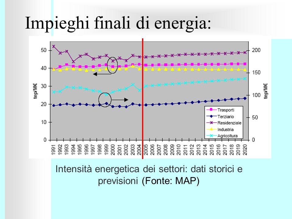 Impieghi finali di energia: