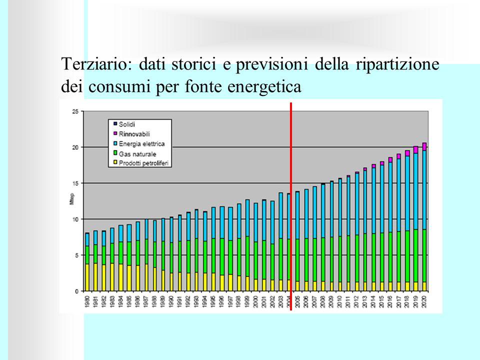 Terziario: dati storici e previsioni della ripartizione dei consumi per fonte energetica