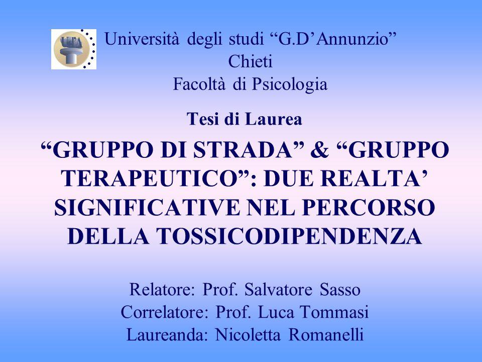Università degli studi G.D'Annunzio Chieti Facoltà di Psicologia