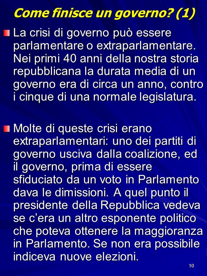 Come finisce un governo (1)