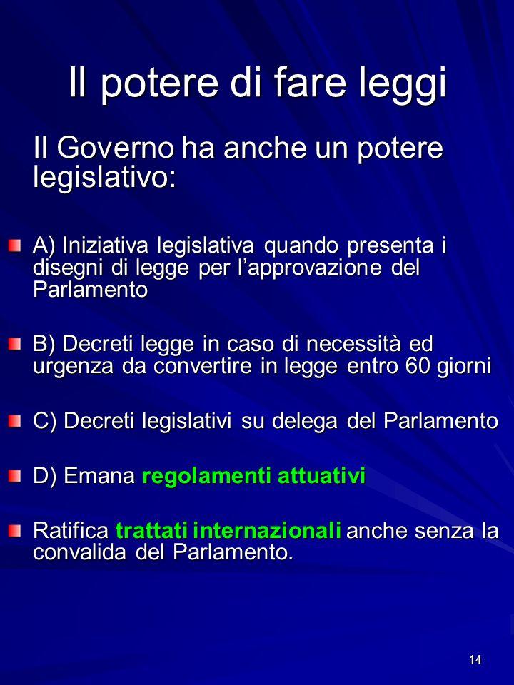 Il potere di fare leggi Il Governo ha anche un potere legislativo: