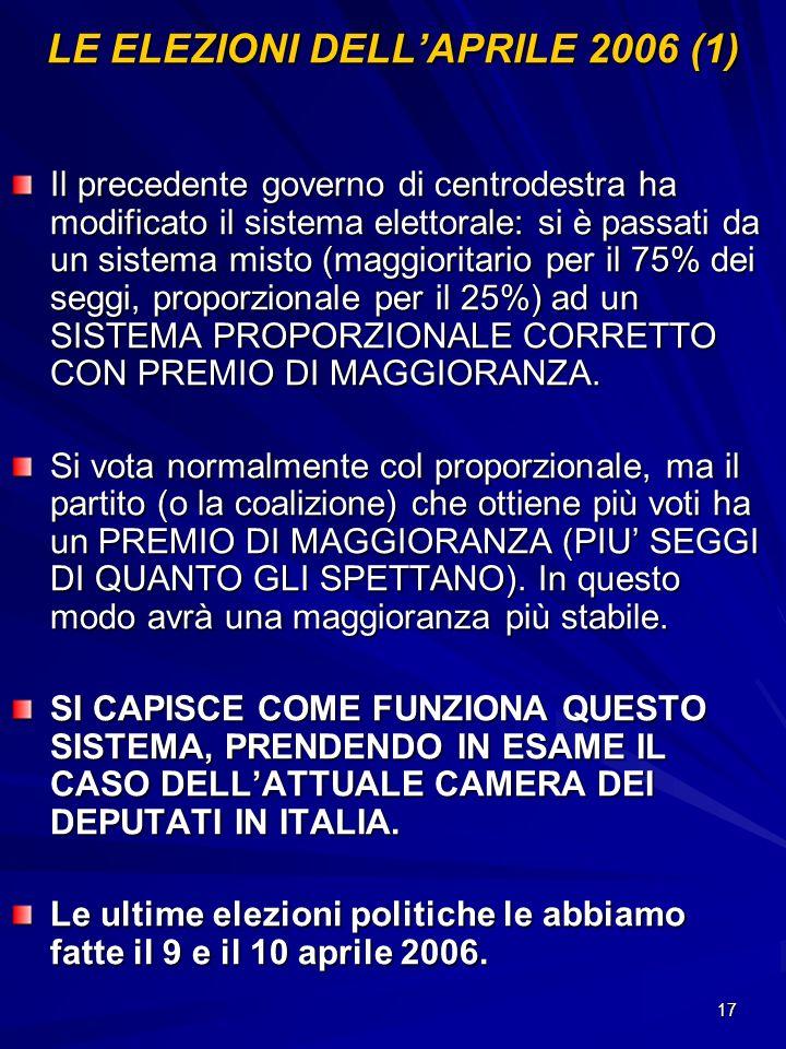 LE ELEZIONI DELL'APRILE 2006 (1)
