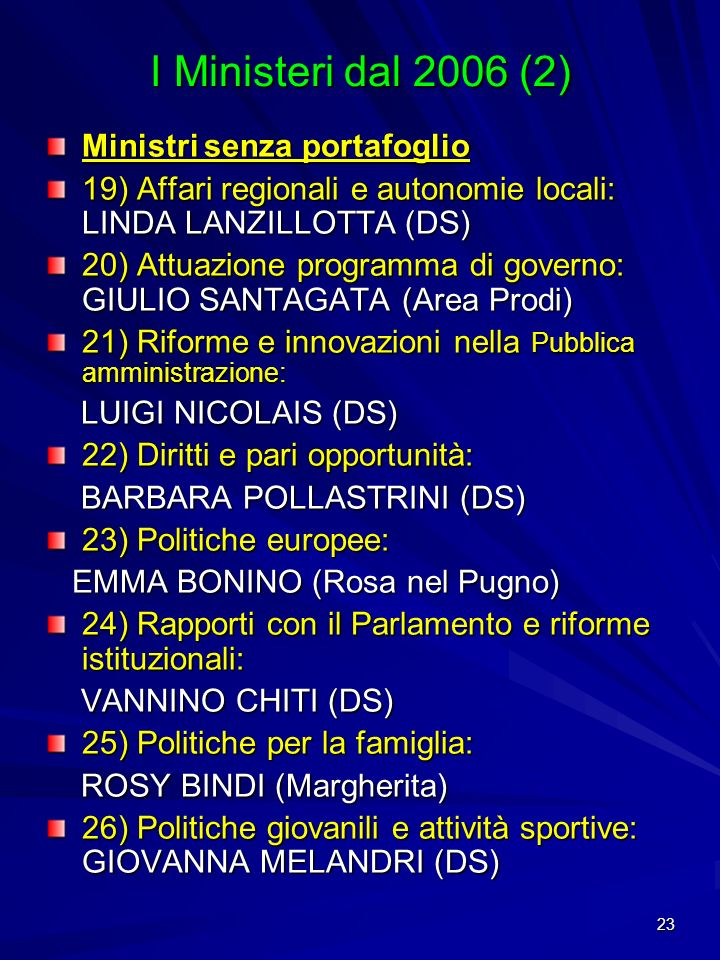 I Ministeri dal 2006 (2) Ministri senza portafoglio