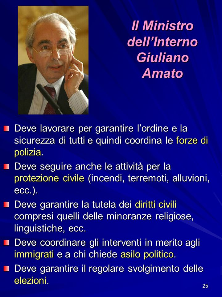 Il Ministro dell'Interno Giuliano Amato