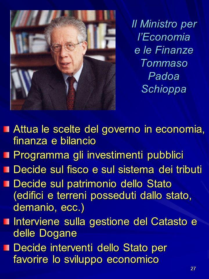 Il Ministro per l'Economia e le Finanze Tommaso Padoa Schioppa