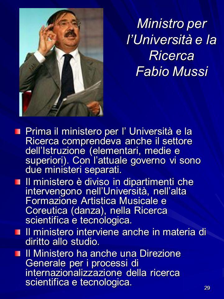 Ministro per l'Università e la Ricerca Fabio Mussi