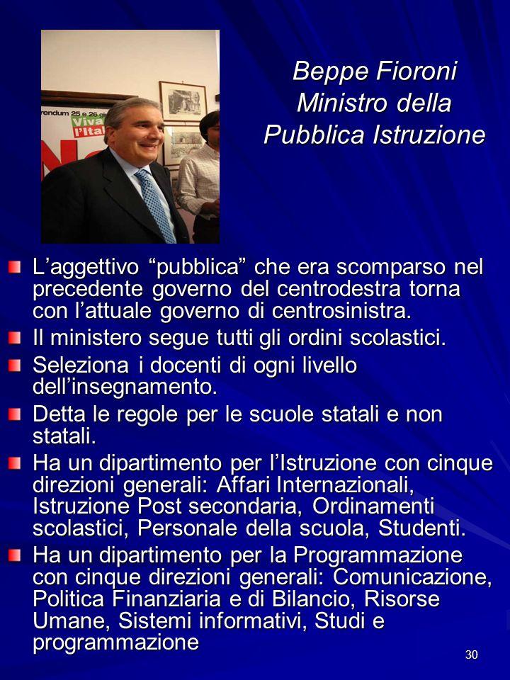 Beppe Fioroni Ministro della Pubblica Istruzione