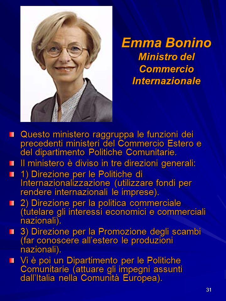Emma Bonino Ministro del Commercio Internazionale