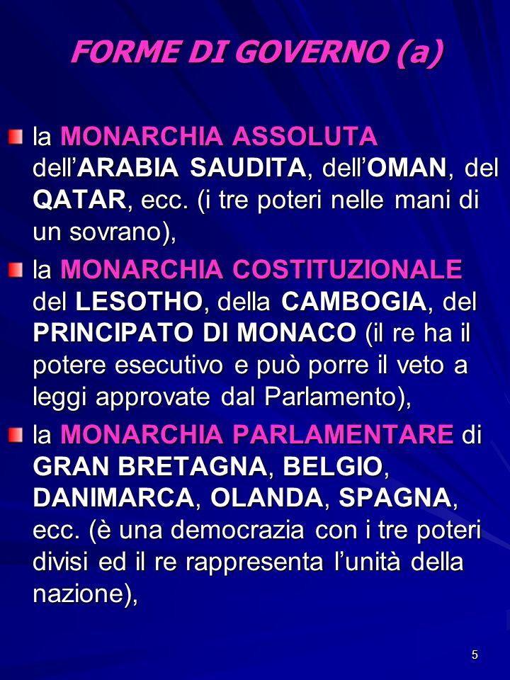 FORME DI GOVERNO (a) la MONARCHIA ASSOLUTA dell'ARABIA SAUDITA, dell'OMAN, del QATAR, ecc. (i tre poteri nelle mani di un sovrano),