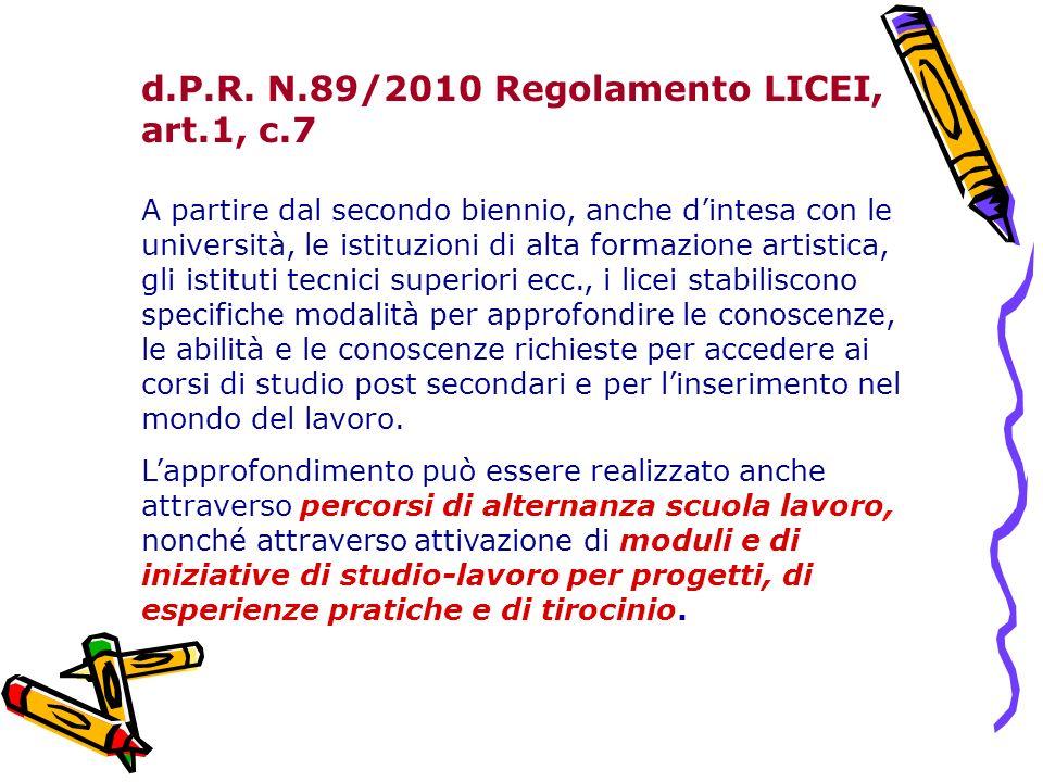 d.P.R. N.89/2010 Regolamento LICEI, art.1, c.7