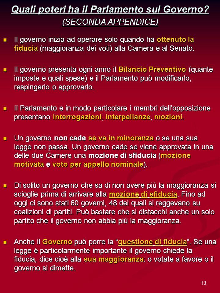 Quali poteri ha il Parlamento sul Governo (SECONDA APPENDICE)