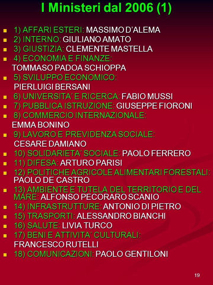 I Ministeri dal 2006 (1) 1) AFFARI ESTERI: MASSIMO D'ALEMA