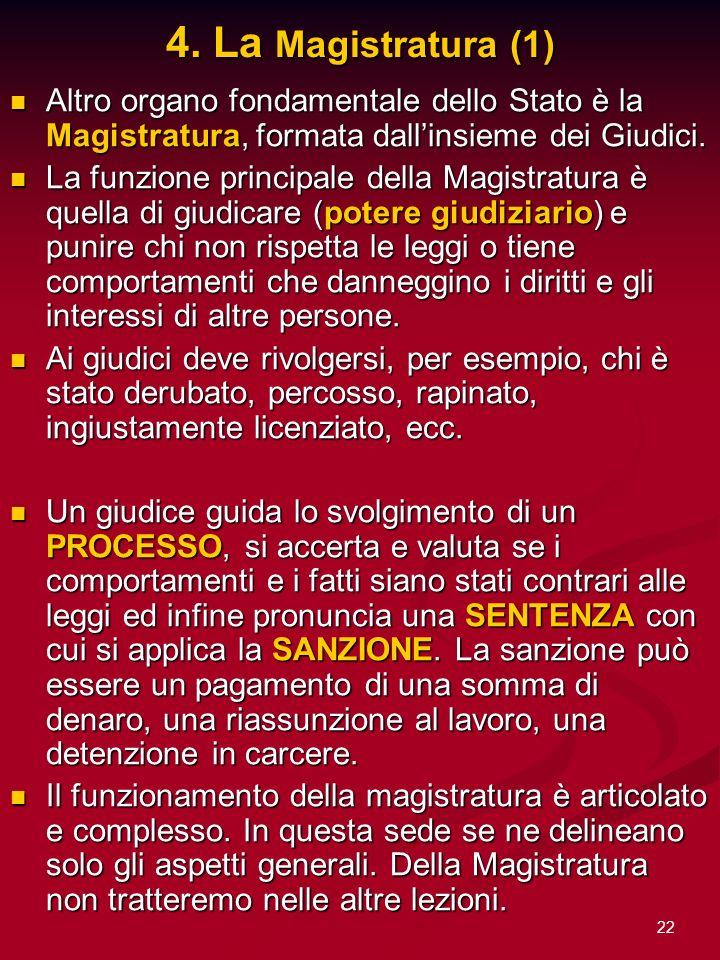 4. La Magistratura (1)Altro organo fondamentale dello Stato è la Magistratura, formata dall'insieme dei Giudici.