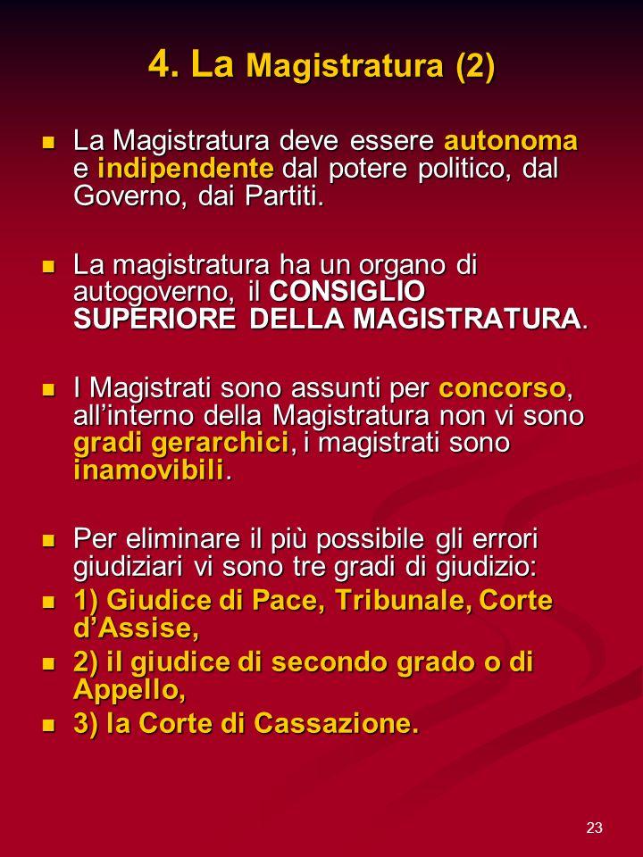 4. La Magistratura (2) La Magistratura deve essere autonoma e indipendente dal potere politico, dal Governo, dai Partiti.