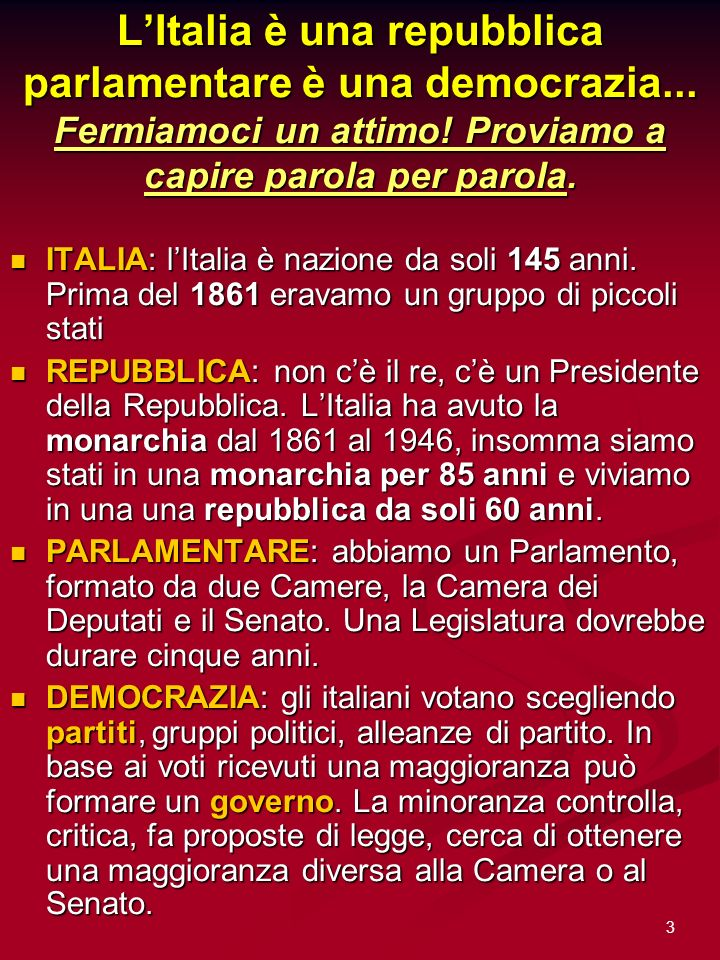 L'Italia è una repubblica parlamentare è una democrazia