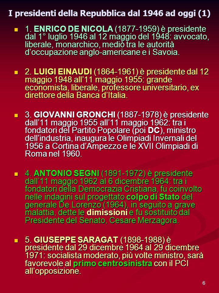 I presidenti della Repubblica dal 1946 ad oggi (1)