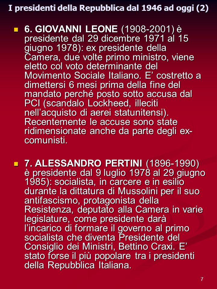 I presidenti della Repubblica dal 1946 ad oggi (2)