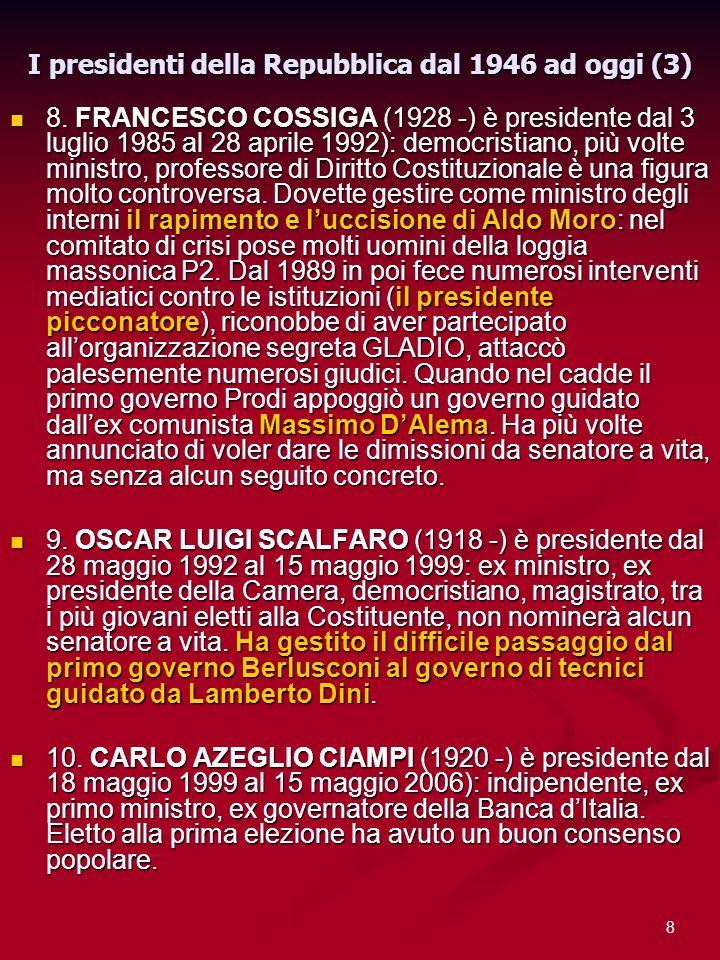 I presidenti della Repubblica dal 1946 ad oggi (3)