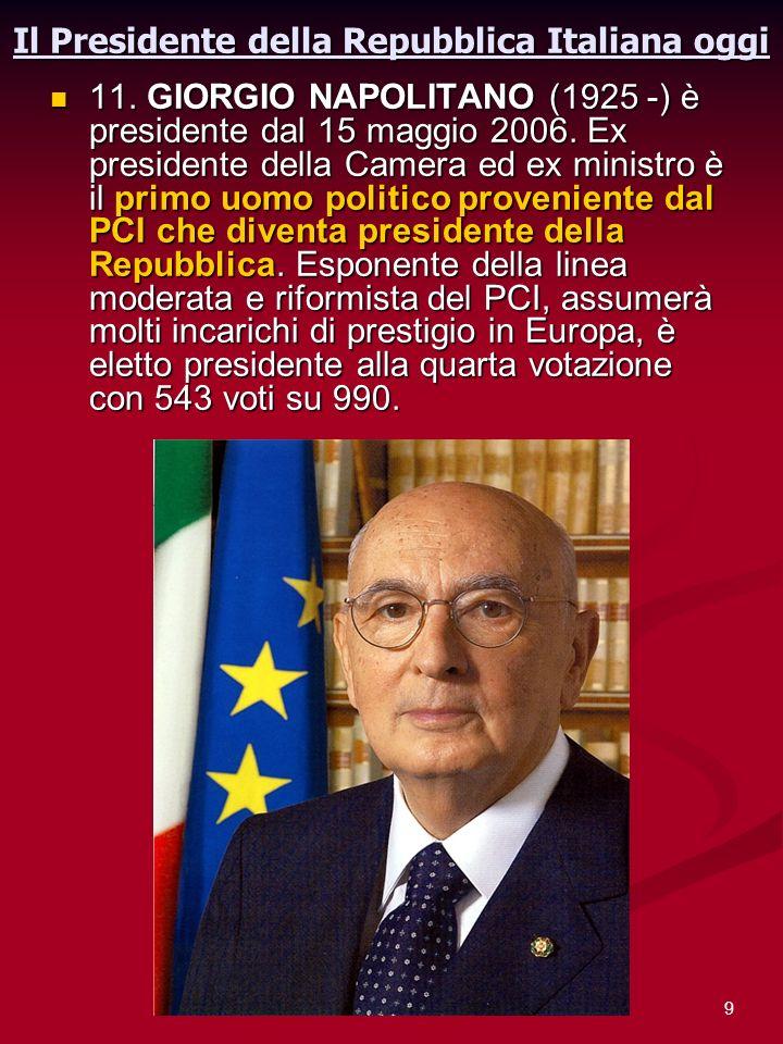 Il Presidente della Repubblica Italiana oggi
