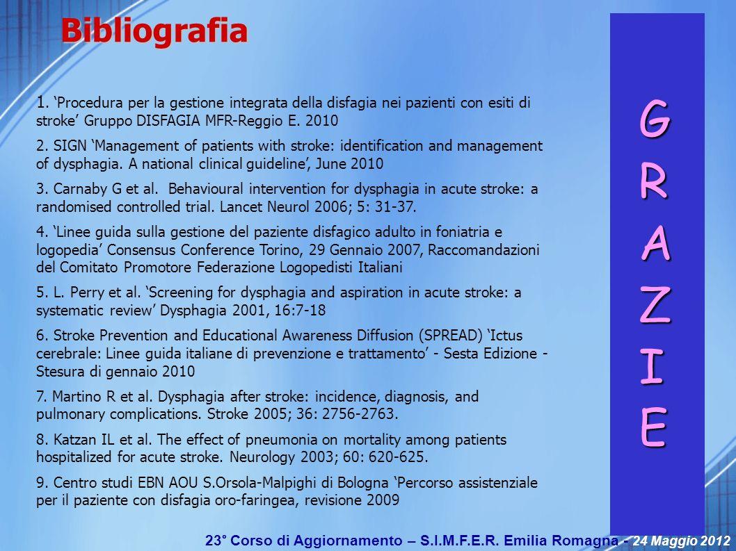 Bibliografia 1. 'Procedura per la gestione integrata della disfagia nei pazienti con esiti di stroke' Gruppo DISFAGIA MFR-Reggio E. 2010.