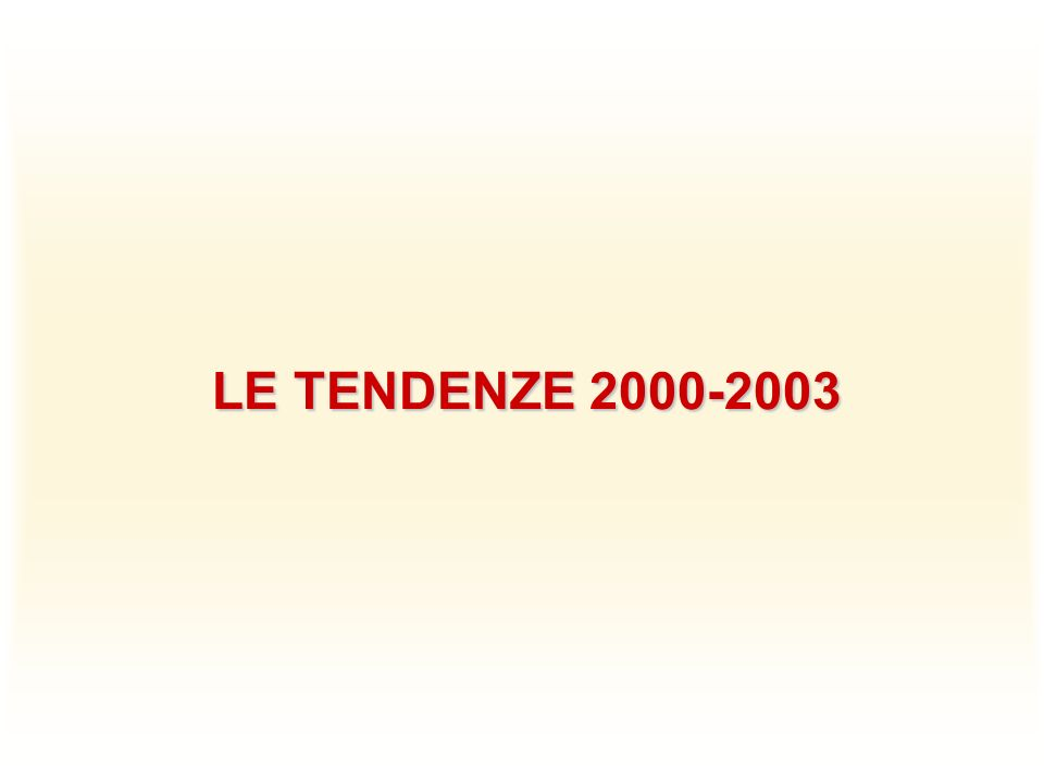 LE TENDENZE 2000-2003