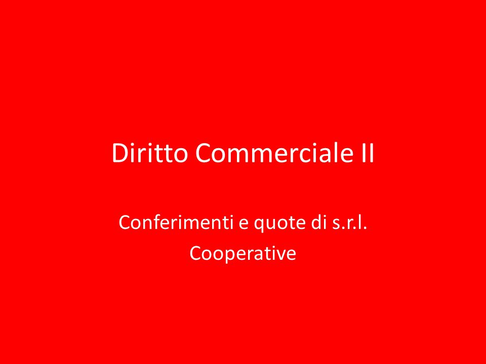 Diritto Commerciale II