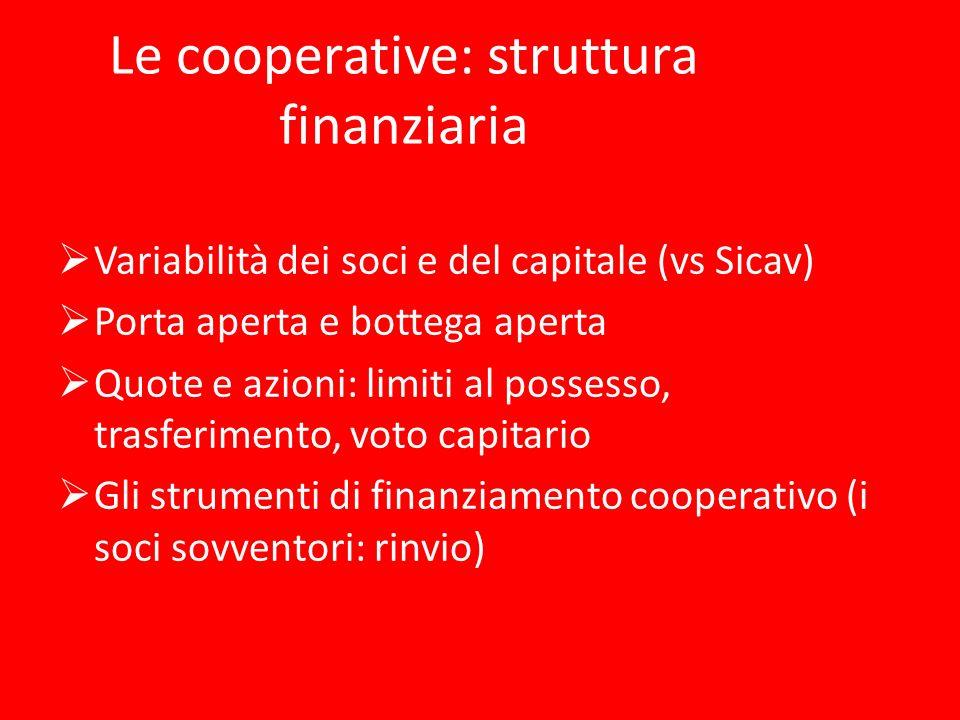 Le cooperative: struttura finanziaria