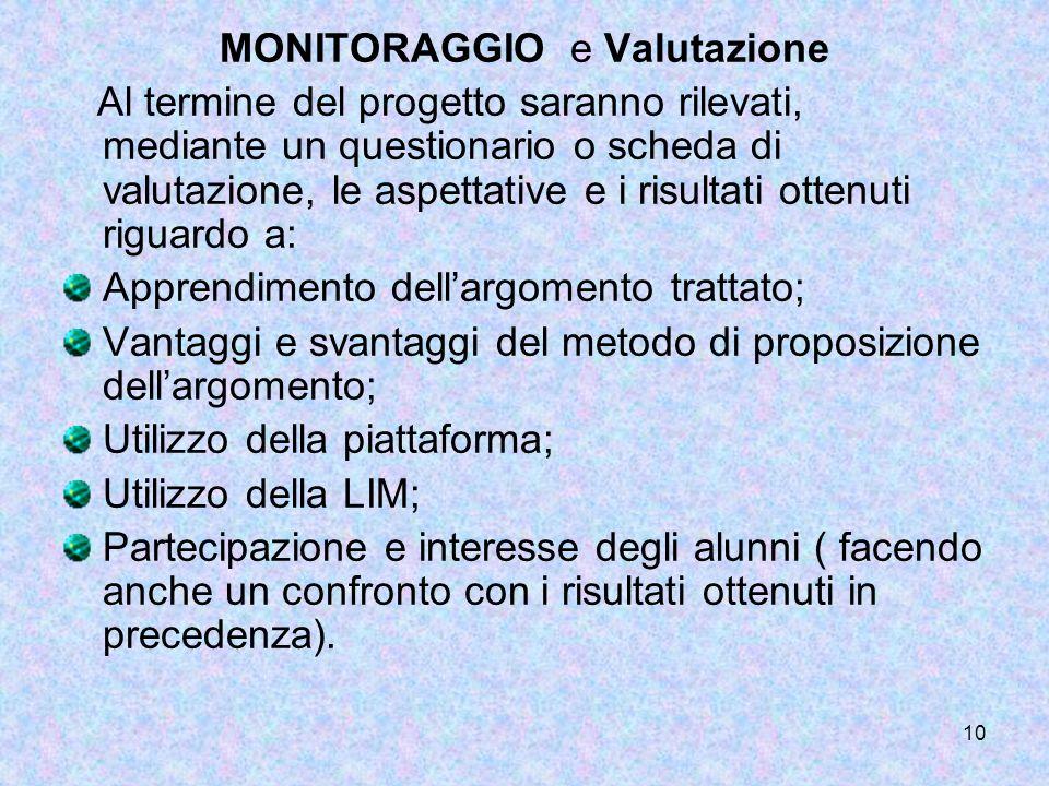 MONITORAGGIO e Valutazione