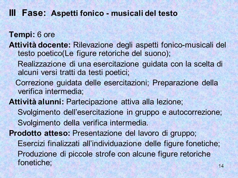 III Fase: Aspetti fonico - musicali del testo