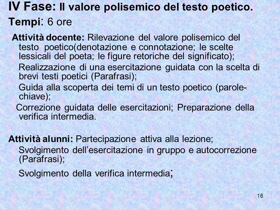 IV Fase: Il valore polisemico del testo poetico.