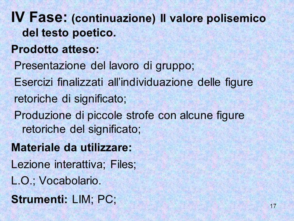 IV Fase: (continuazione) Il valore polisemico del testo poetico.