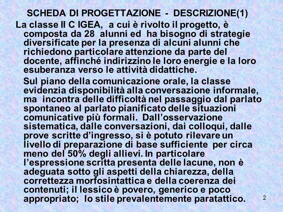 SCHEDA DI PROGETTAZIONE - DESCRIZIONE(1)