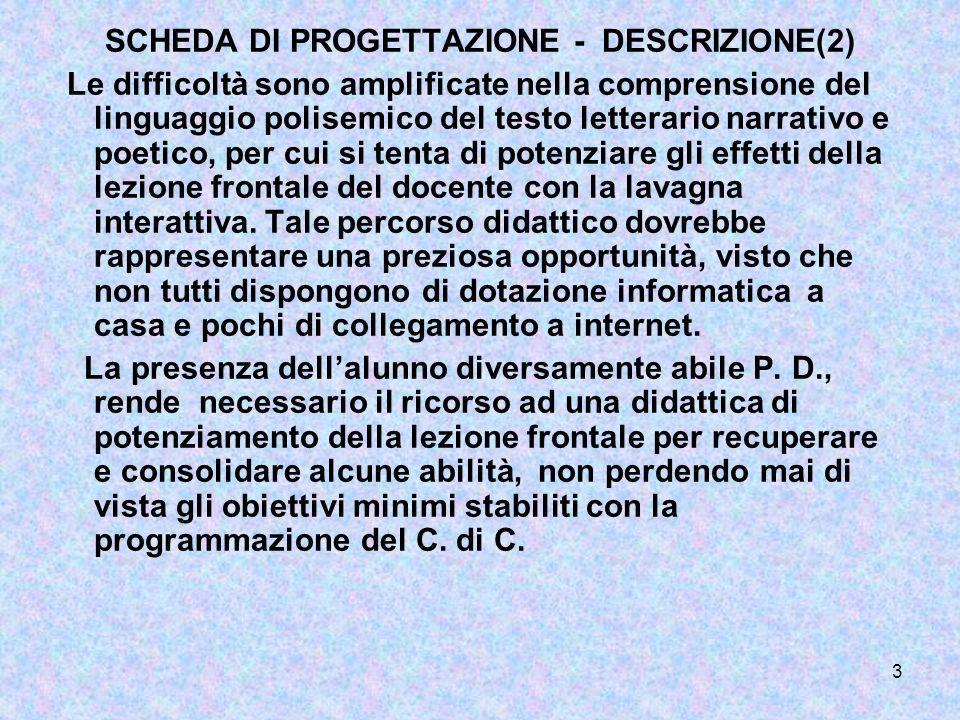 SCHEDA DI PROGETTAZIONE - DESCRIZIONE(2)