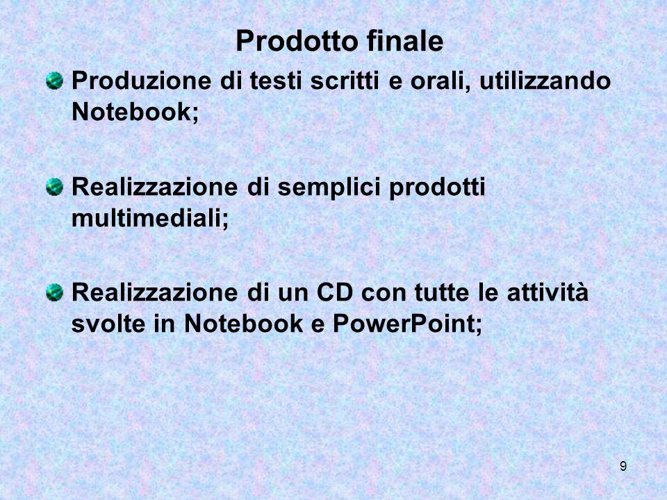 Prodotto finaleProduzione di testi scritti e orali, utilizzando Notebook; Realizzazione di semplici prodotti multimediali;