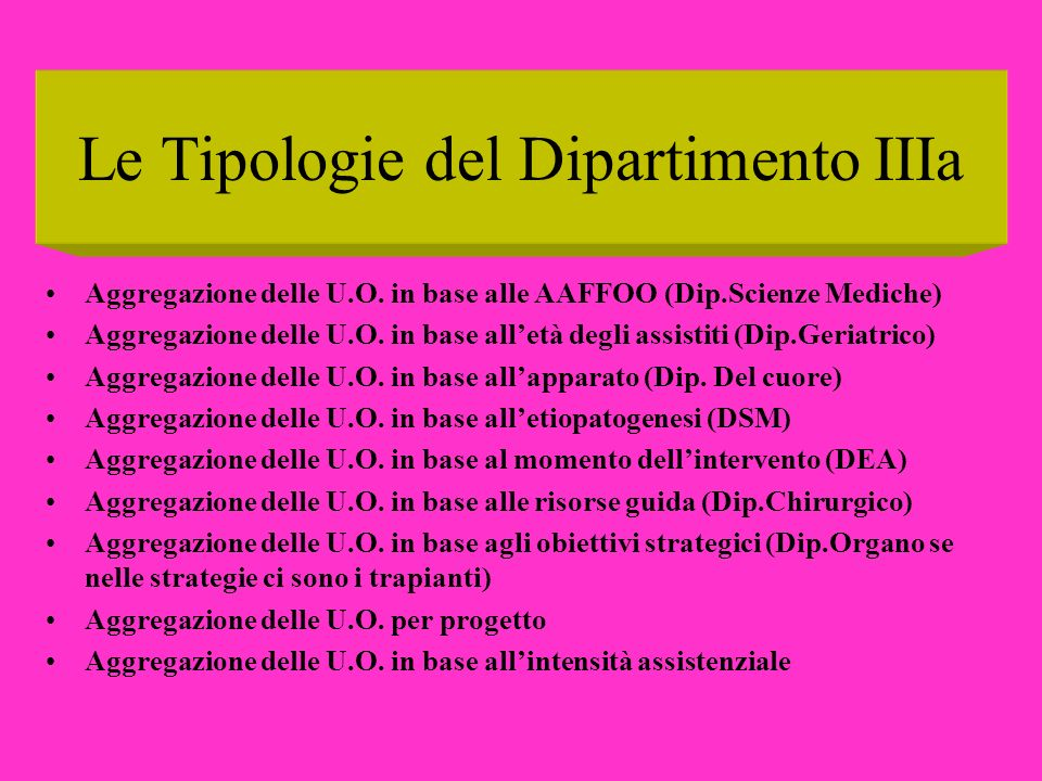 Le Tipologie del Dipartimento IIIa