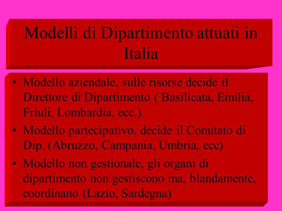 Modelli di Dipartimento attuati in Italia