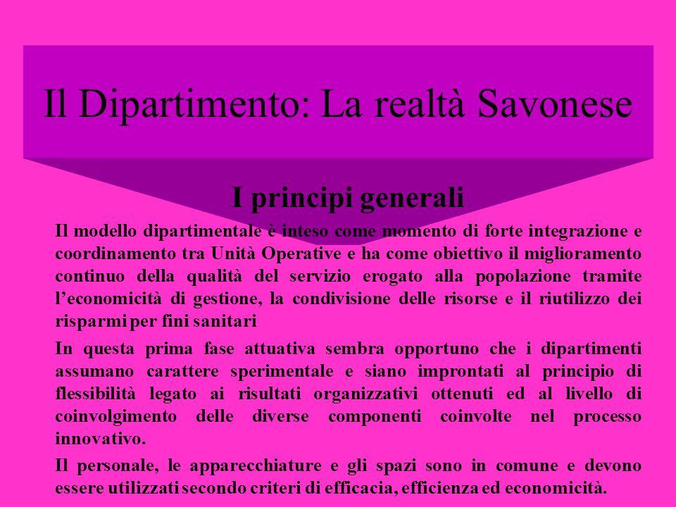 Il Dipartimento: La realtà Savonese