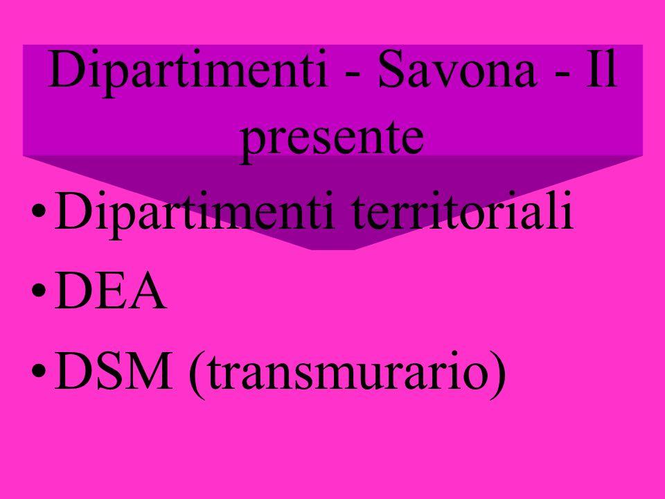 Dipartimenti - Savona - Il presente