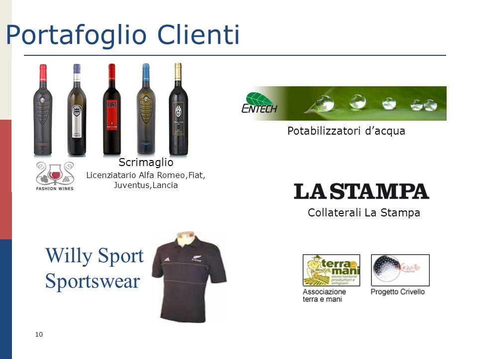 Portafoglio Clienti Willy Sport Sportswear Potabilizzatori d'acqua