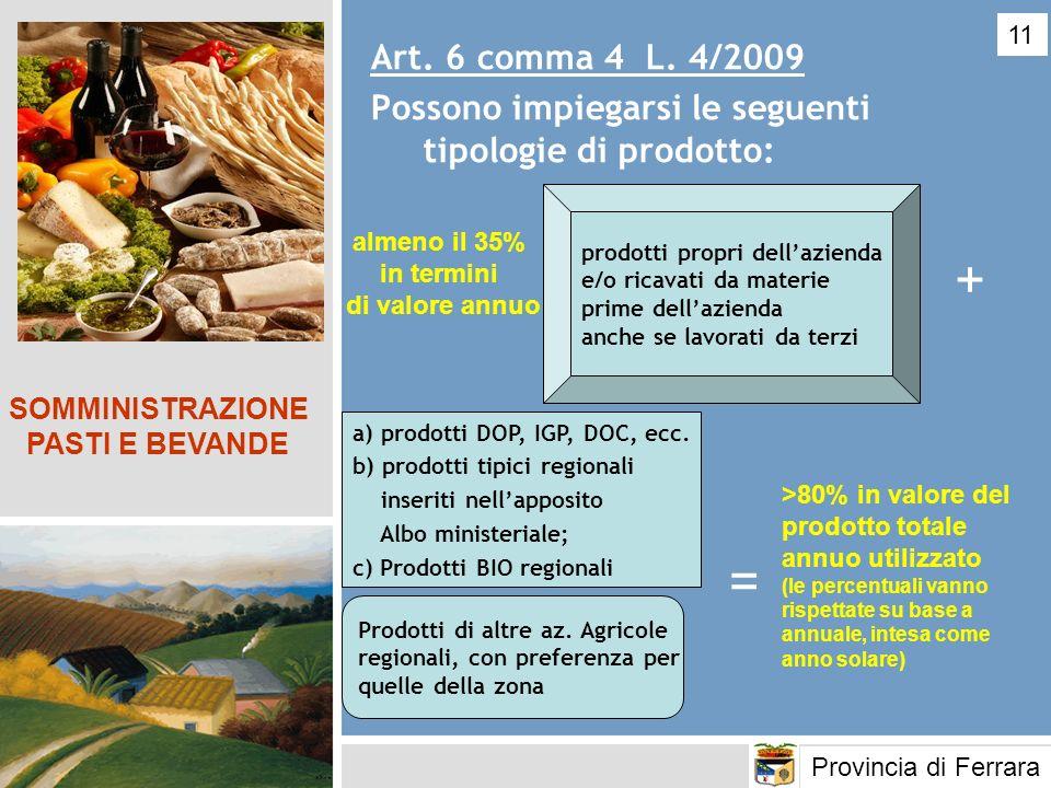 11 Art. 6 comma 4 L. 4/2009. Possono impiegarsi le seguenti tipologie di prodotto: prodotti propri dell'azienda.