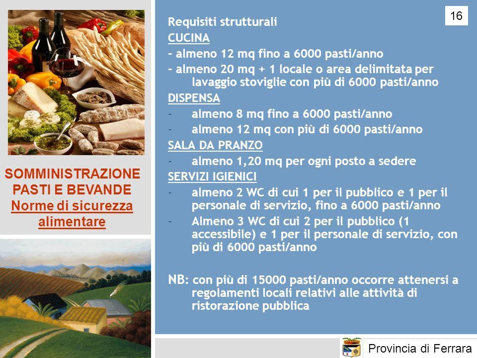 SOMMINISTRAZIONE PASTI E BEVANDE Norme di sicurezza alimentare