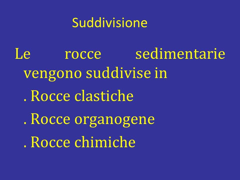 Suddivisione Le rocce sedimentarie vengono suddivise in .